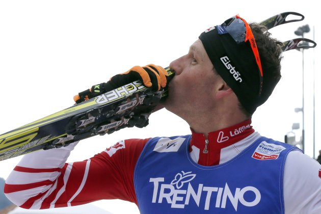 Gruber of Austria celebrates winning the silver in the Nordic Combined men's Individual Gundersen 10km competition at the Nordic Ski World Championships in Val di Fiemme
