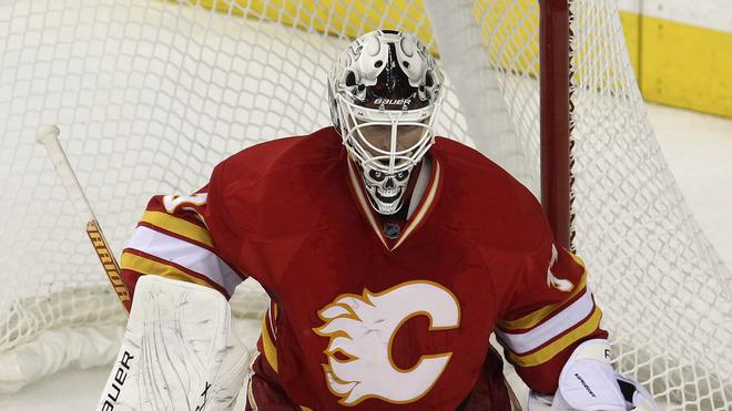 Miikka Kiprusoff #34 Of The Calgary Flames Defends Getty Images