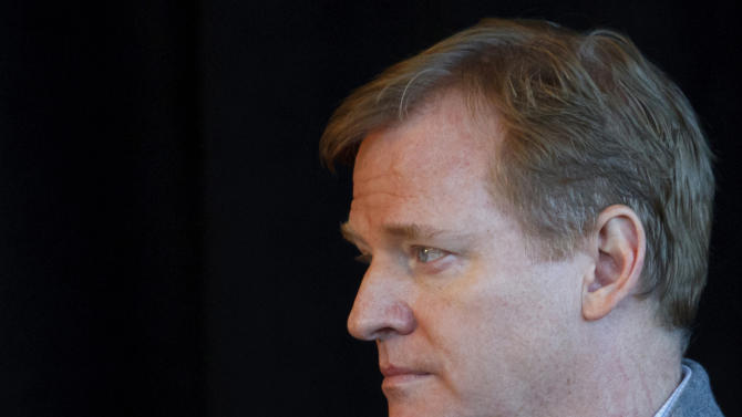 FILE  - In this file photo taken Dec. 11, 2011, NFL Commissioner Roger Goodell is photographed before an NFL football game in Detroit.  With suspensions already handed out and lawsuits filed in the Saints' bounty program case, NFL owners will meet in Atlanta on Tuesday, May 22, 2012. Player safety will be a major issue at this meeting, where Goodell is certain to be asked about New Orleans Saints linebacker Jonathan Vilma's defamation lawsuit against him. Goodell's authority for administering discipline is being challenged by the players' union, Vilma and three other players suspended for their roles in the bounty system. (AP Photo/Rick Osentoski, file)