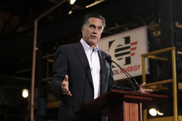 In this photo taken Monday, April 23, 2012, Republican presidential candidate, former Massachusetts Gov. Mitt Romney speaks at Consol Energy Research and Development Facility in South Park Township, P