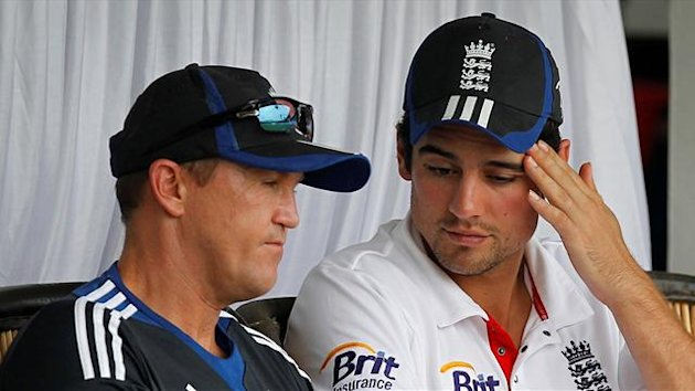England's captain Alastair Cook (R) and team coach Andy Flower (Reuters)