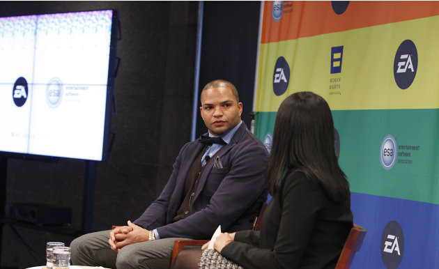 IMAGE DISTRIBUTED FOR EA - NFL linebacker and Super Bowl Champion Brendon Ayanbadejo of the Baltimore Ravens gets interviewed by Maya Harris from the Ford Foundation at Electronic Arts'  LGBT Full Spe