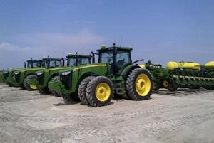 Four Deere & Co planters are seen at Spirit Farms in Sheridan, Illinois