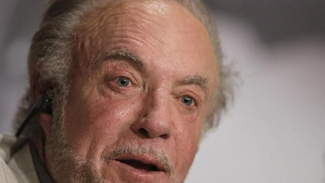 Actor James Caan speaks during the press conference of Blood Ties at the 66th international film festival, in Cannes, southern France, Monday, May 20, 2013. (AP Photo/Francois Mori)