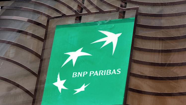 Photo taken on June 24, 2014 in Lille, northern France shows the logo of the French bank BNP Paribas