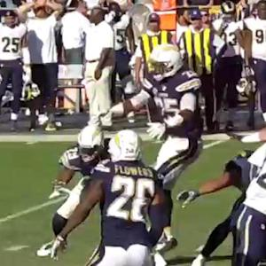 San Diego Chargers safety Darrell Stuckey blocks St. Louis Rams field goal