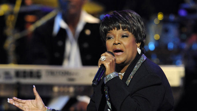 """FILE - This Dec. 15, 2007 file photo shows 11-time Grammy winner and pastor Shirley Caesar performing at BET network's Annual Celebration of Gospel concert in Los Angeles. Caesar, who is known as the """"Queen of Gospel,"""" is singing to a different tune on her new solo album, """"Good God,"""" released last week. It has been four years since she dropped an album, giving her time to embrace a new musical approach. The 74-year-old Caesar brought on up-and-comers Kurt Carr and James Fortune as producers to infuse a more contempo style.  (AP Photo/Chris Pizzello, file)"""