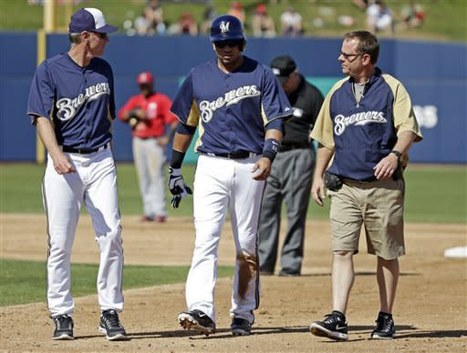 Ramirez hurt but banged-up Brewers beat Angels 4-3