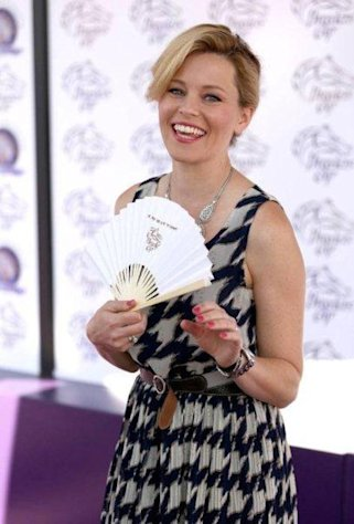 Elizabeth Banks attends the Breeders' Cup World Championships at Santa Anita Park on November 3, 2012.