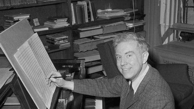 FILE - In this May 2, 1960 file photo, Pulitzer Prize winning composer Elliott Carter poses at the piano in his New York City apartment after the announcement of the award was made. Carter, a classical composer whose challenging, rhythmically complex works earned him widespread admiration and two Pulitzer Prizes, died Monday, Nov. 5, 2012 at age 103. (AP Photo/John Lent, File)