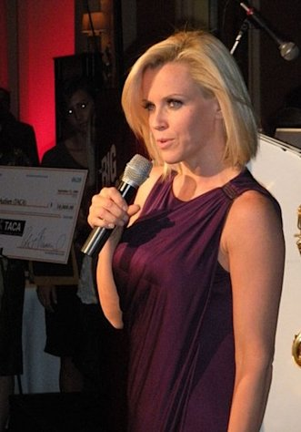 "Jenny McCarthy speaks at Talk About Curing Autism's 2008 ""Ante Up for Autism"" fundraiser."