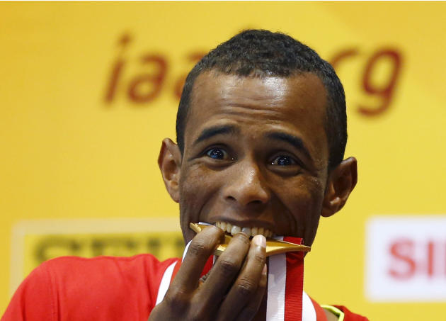 Gold medallist Djibouti's Souleiman celebrates after men's 1500m final at world indoor athletics championships in Sopot