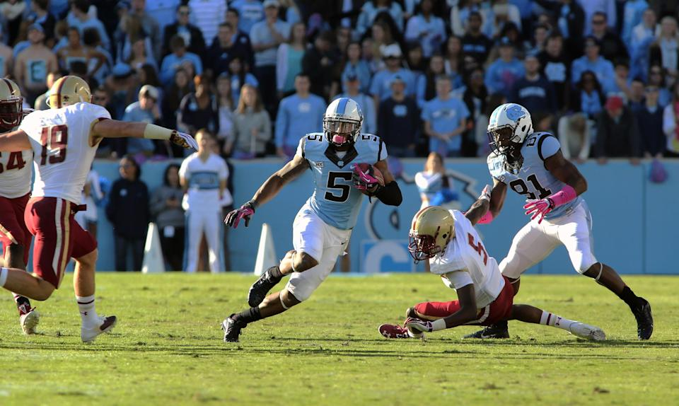 UNC snaps 4-game slide by beating BC, 34-10