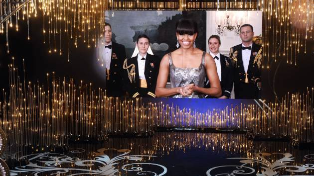 Jack Nicholson along with First lady Michelle Obama seen on the video board present the Best Picture award onstage during the Oscars held at the Dolby Theatre, Hollywood, on February 24, 2013 -- Getty Images
