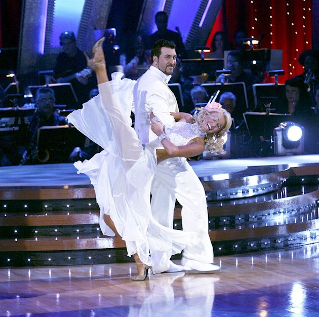 Professional dancer, Kim Johnson and Joey Fatone dance the foxtrot in the 4th season of Dancing with the Stars.