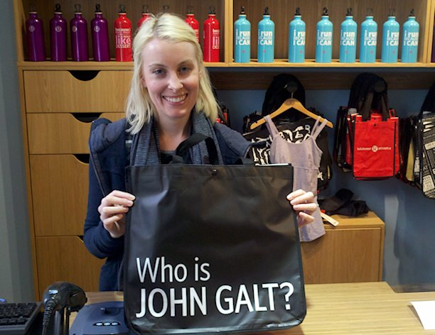 "Lululemon's controversial ""Who is John Galt?"" bag"