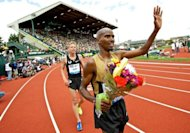 Mo Farah of Great Britain wins the 5000m in Oregon on June 2. Farah became the latest British athlete to withdraw from the UK Olympic trials when he pulled out of the 1,500 metres final due to be run later Saturday