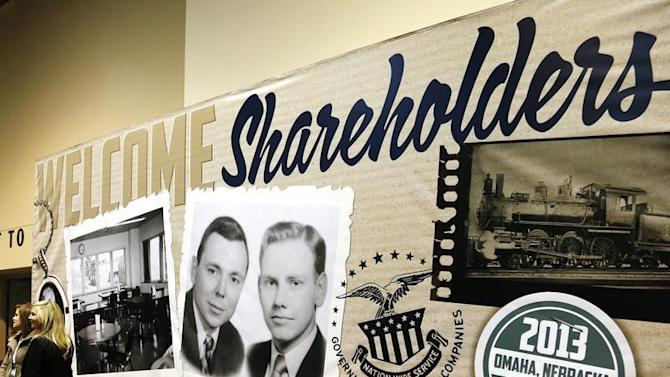 A billboard welcoming Berkshire Hathaway shareholders displays a vintage picture of Chairman Buffett and Vice Chairman Munger at the company's annual meeting in Omaha