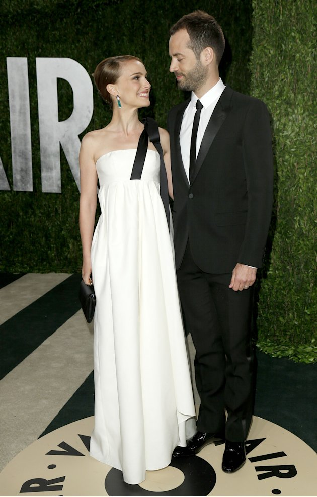 Natalie Portman with husband Benjamin Millepied at the 2013 Vanity Fair Oscars Party in West Hollywood