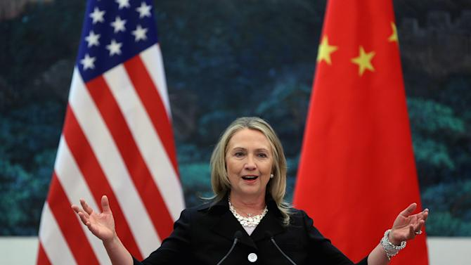 U.S. Secretary of State Hillary Rodham Clinton speaks during her joint conference with Chinese Foreign Minister Yang Jiechi at the Great Hall of the People in Beijing, China, Wednesday, Sept. 5, 2012. Talks between Clinton and Chinese leaders Wednesday failed to narrow gaps on how to end the crisis in Syria and how to resolve Beijing's territorial disputes with its smaller neighbors over the South China Sea. (AP Photo/Feng Li, Pool)