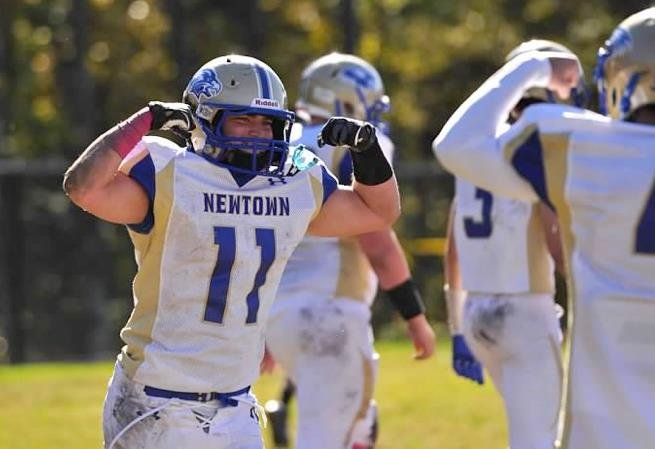 Running back Cooper Gold led Newtown with 256 yards and 5 touchdowns against Masuk — Facebook