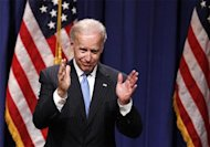 U.S. Vice President Joe Biden gestures after giving a speech regarding the Obama administration&#39;s foreign policy record at New York University in New York