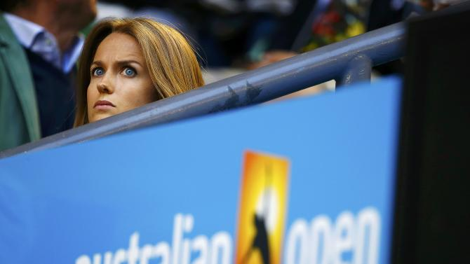 Sears, fiancee of Murray of Britain, watches as he plays Berdych of Czech Republic in their men's singles semi-final match at the Australian Open 2015 tennis tournament in Melbourne