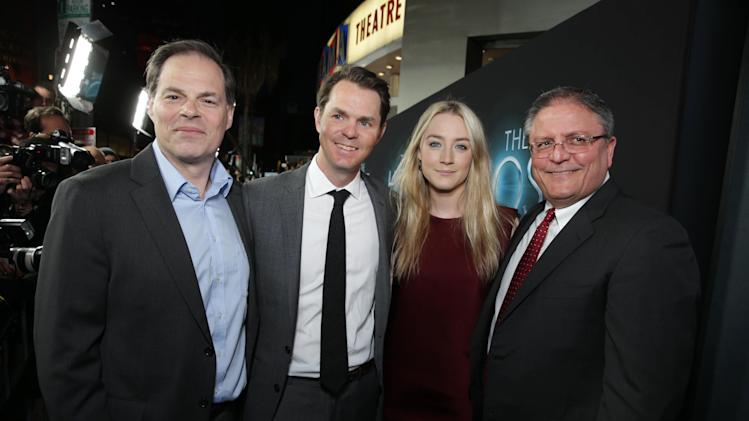 Open Road Films' Tom Ortenberg, Open Road Films' Jason Cassidy, Saoirse Ronan and AMC CEO Gerry Lopez at Open Road Films Los Angeles Premiere of 'The Host' held at the ArcLight Hollywood, on Tuesday, March, 19, 2013 in Los Angeles. (Photo by Eric Charbonneau/Invision for Open Road Films/AP Images)