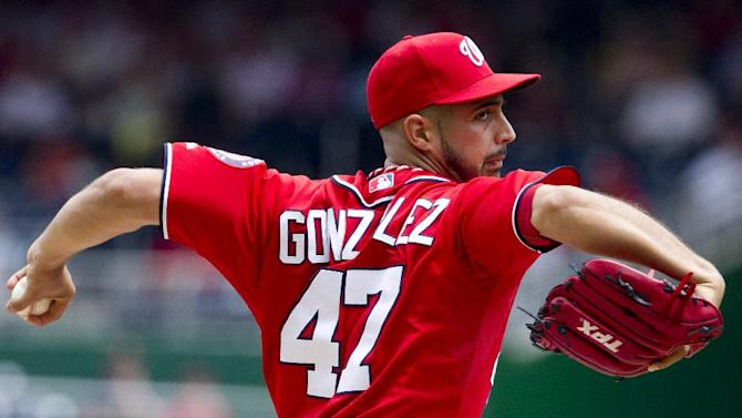 Washington Nationals starter Gio Gonzalez (47) pitches during the first inning of a baseball game against the Philadelphia Phillies in Washington, Saturday, May 5, 2012.   (AP Photo Manuel Balce Ceneta)