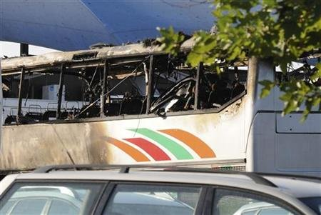 A burnt bus is seen at Bulgaria's Burgas airport