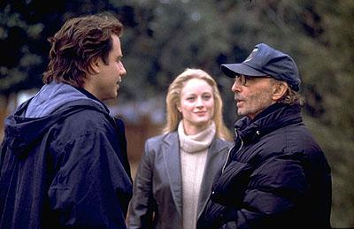 John Travolta , Teri Polo and director Harold Becker on the set of Paramount's Domestic Disturbance