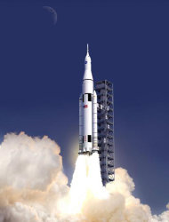 concept provided by NASA shows the launch of the rocket design, called ...