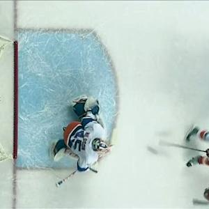 Colborne deflects Giordano's shot by Nilsson