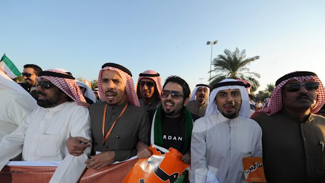 Islamist, nationalist and liberal opposition groups gather to protest the Kuwait government's amendment of the electoral law and support a boycott on the country's election on Friday, Nov. 30, 2012 in Kuwait City. More than 15,000 protesters rallied in the first government-authorized demonstration in Kuwait since a ban on political gatherings earlier this month. The election to be held Saturday, Dec. 1 is the fifth since mid-2006, and the second this year.(AP Photo/Gustavo Ferrari)