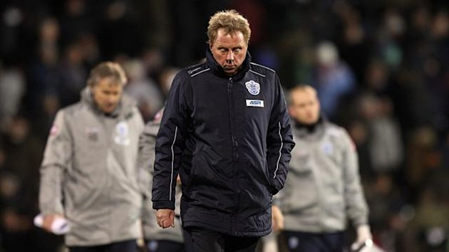 QPR manager Harry Redknapp dejected after Fulham loss.