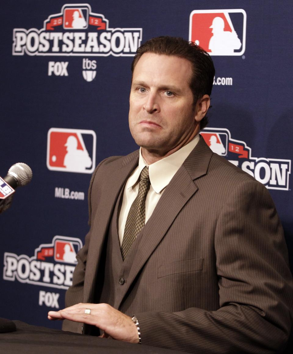 St. Louis Cardinals manager Mike Matheny answers questions during a news conference Saturday, Oct. 20, 2012 in San Francisco. The Cardinals face the San Francisco Giants for Game 6 of the National League championship baseball series Sunday. (AP Photo/Ben Margot)
