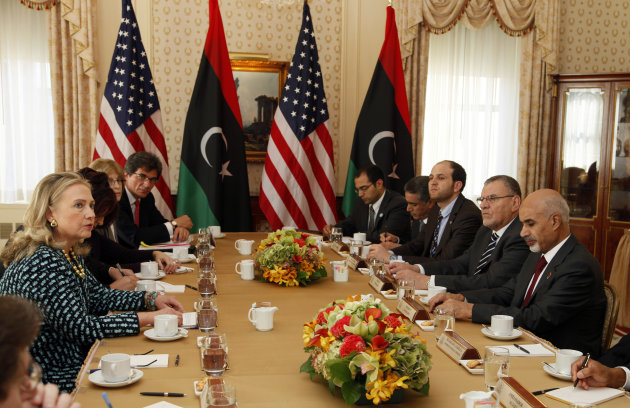 U.S. Secretary of State Hillary Rodham Clinton, left, meets with Libyan President Mohamed Magariaf, right, Monday, Sept. 24, 2012, in New York. (AP Photo/David Karp)
