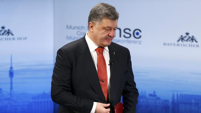 Ukrainian President Poroshenko arrives for the Presidential debate at the Munich Security Conference in Munich