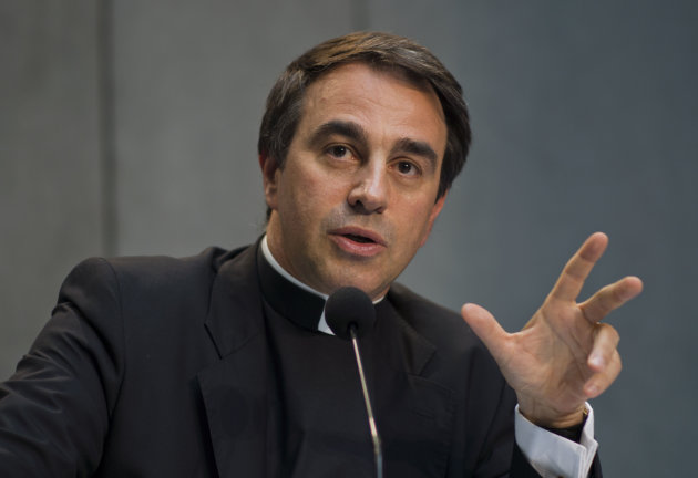 "<p>               Vatican Undersecretary for the Relations with States, Mons. Ettore Balestrero, who heads the Vatican delegation to the so-called Moneyval committee, speaks during a press conference at the Vatican Wednesday, July 18, 2012. The Vatican has passed a key European financial transparency test, but received poor grades for the effectiveness of its new financial watchdog agency and for the ability of its bank to track suspicious transactions. The report showed the Vatican had received compliant or largely compliant grades on nine of the 16 ""key and core"" internationally recognized recommendations to fight money laundering and terrorist financing. ""We take both the praise and criticism contained in the report with seriousness,"" said Mons. Balestrero. (AP Photo/Domenico Stinellis)"