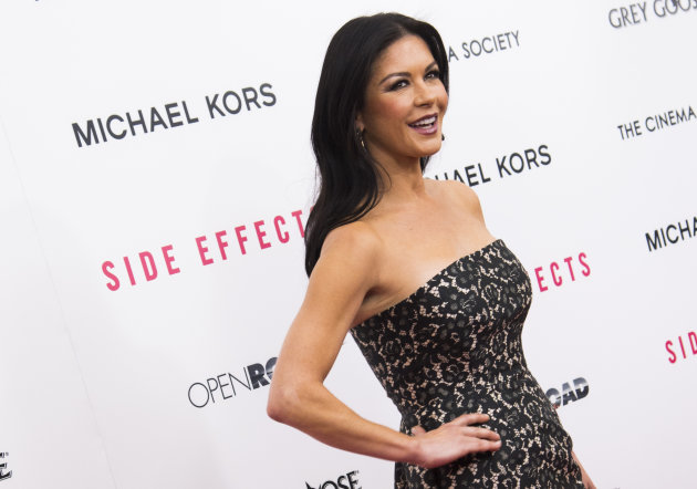 "Catherine Zeta-Jones attends the premiere of ""Side Effects"" hosted by the Cinema Society and Open Road Films on Thursday, Jan. 31, 2013 in New York. (Photo by Charles Sykes/Invision/AP)"