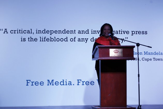 Alison Bethel McKenzie, executive director of the International Press Institute, gives a speech during a ceremony at the IPI World Congress in Amman