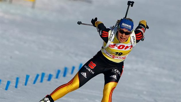 Magdalena Neuner from Germany competes during the women's 15 km individual race at the Biathlon World Championships in Ruhpolding March 7, 2012