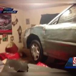 Elderly enthusiast still has sense of humor after car crashes into his bedroom
