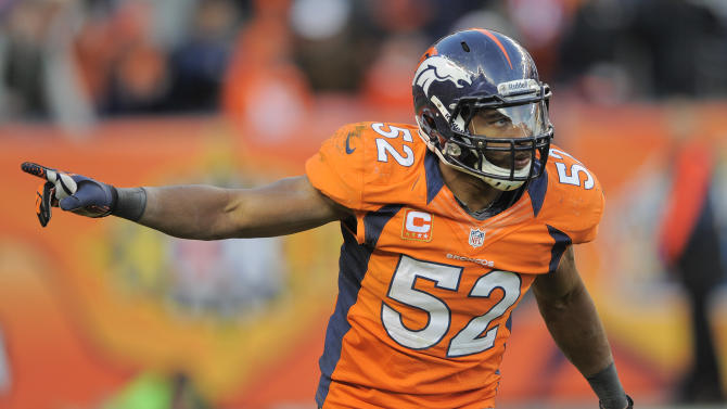 Denver Broncos outside linebacker Wesley Woodyard (52) reacts after a defensive play against the Cleveland Browns in the fourth quarter of an NFL football game, Sunday, Dec. 23, 2012, in Denver. (AP Photo/Jack Dempsey)