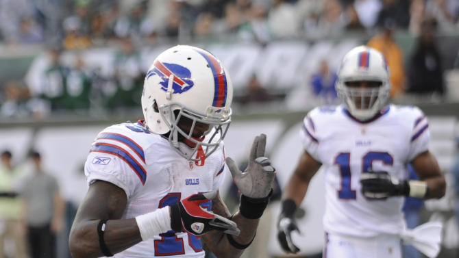 Buffalo Bills wide receiver Steve Johnson (13) celebrates a touchdown during the second quarter of an NFL football game against the New York Jets on Sunday, Nov. 27, 2011 in East Rutherford, N.J. (AP Photo/Bill Kostroun)