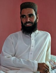 Pakistani cleric Hafiz Khalid Chishti, the Imam of a local mosque, looking on during an interview with AFP in Mehrabad, a suburb of the capital Islamabad on August 24. Pakistani police have arrested the cleric on suspicion of planting evidence against a Christian girl accused of blasphemy