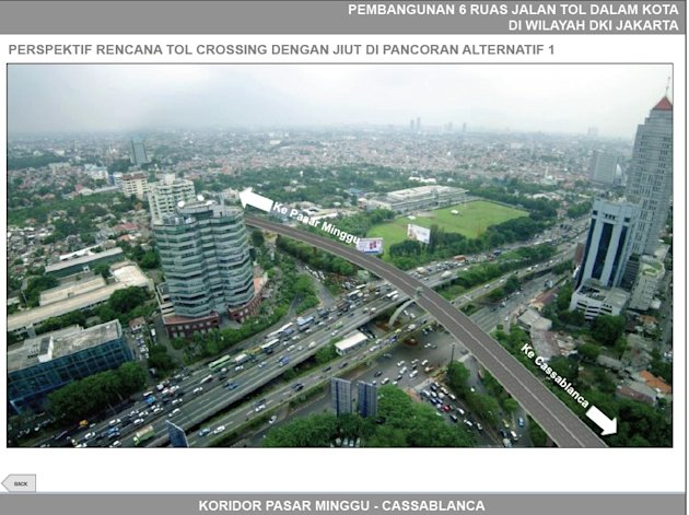Rencana pembangunan ruas jalan tol dalam kota. Sumber: Presentasi Jakarta Tollroad, dokumentasi RCUS.