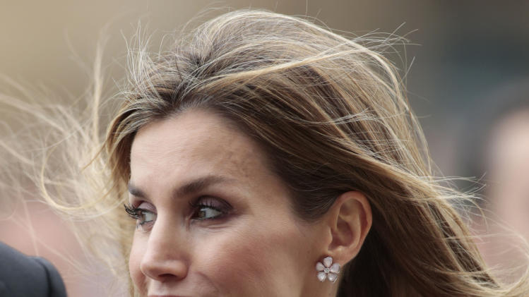 Queen Letizia smiles during celebrations for St James' Day in Santiago de Compostela