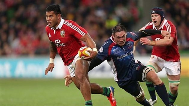 Manu Tuilagi, left, has staked his claim for a place in the Lions side to face Australia in the second Test