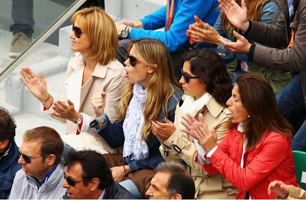(L-R) Rafael Nadal's Mother Ana Maria Perera, Sister Isabel Nadal And Girlfriend Xisca Perello Applaud  Getty Images